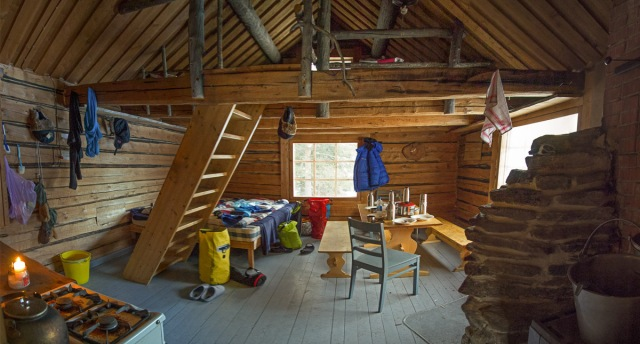 inside the cozy first hut