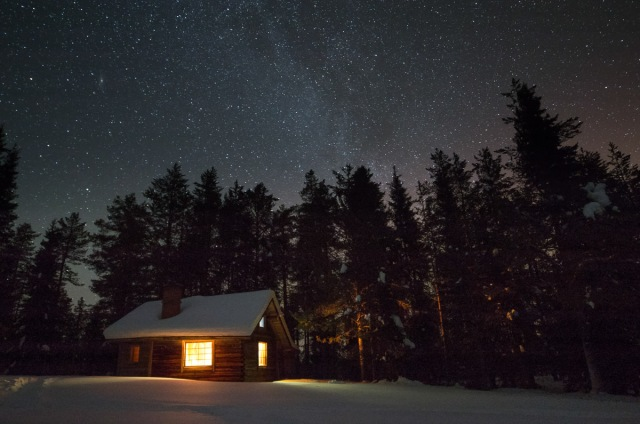 the first hut at night